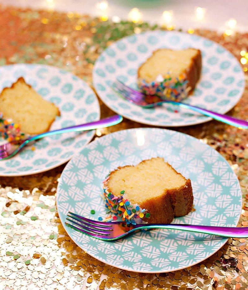 Unicorn Funfetti Cake and Rainbow Flatware