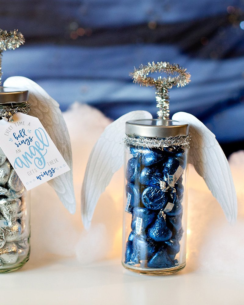 Gift Jar Angel with Blue Hershey Kisses
