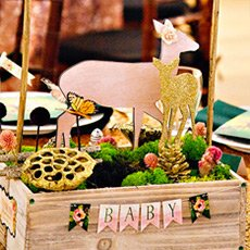 fairytale forest baby shower centerpiece