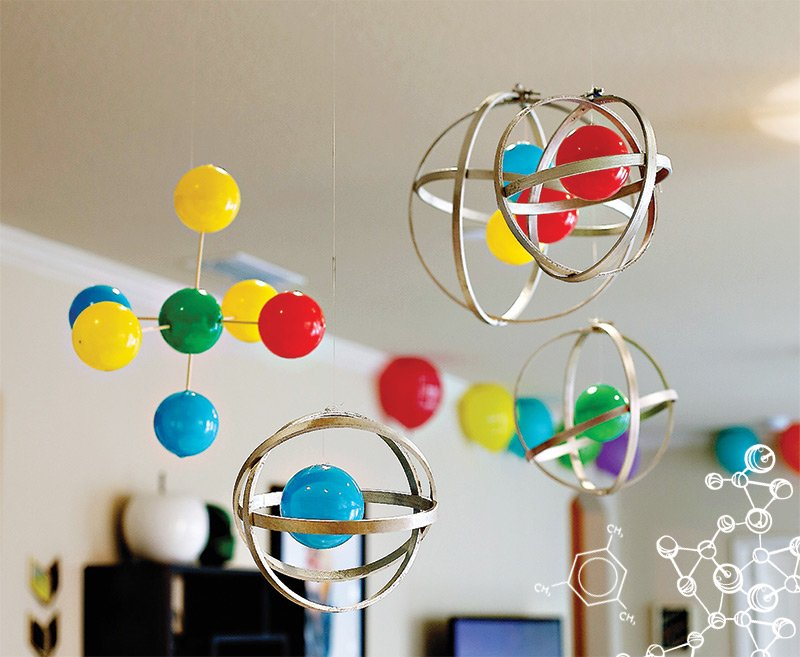 DIY Molecule and Atom party decorations
