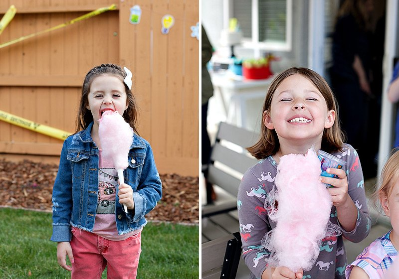 kids eating pink cotton candy