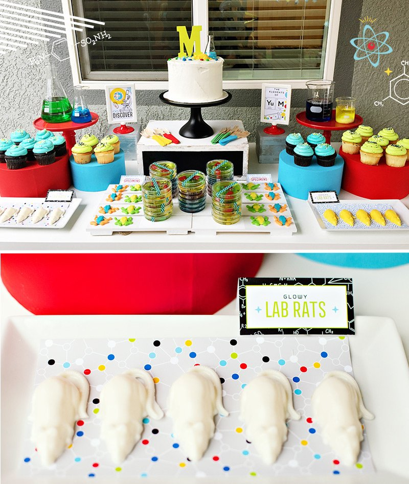 science party dessert table ideas