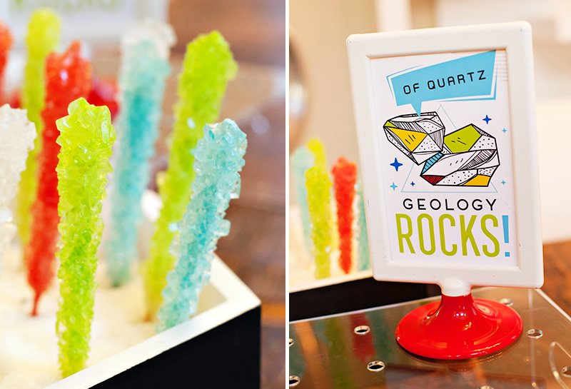 science party printables and rock candy sticks