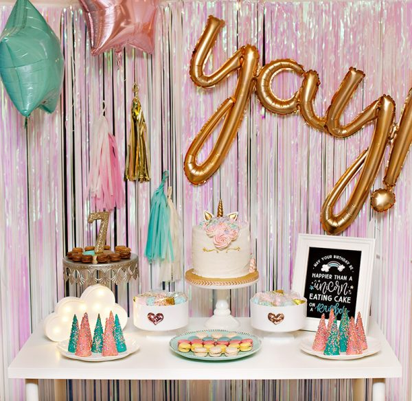 pastel unicorn party dessert table
