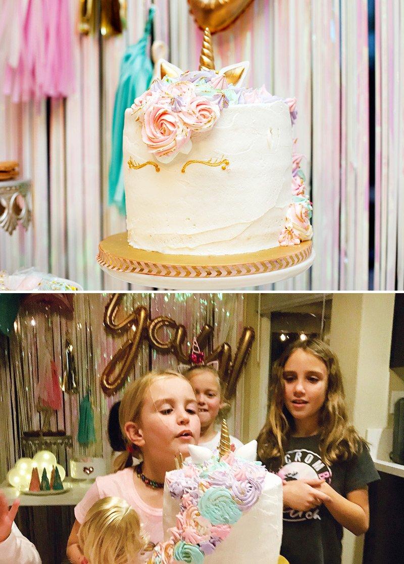 pastel unicorn birthday party cake