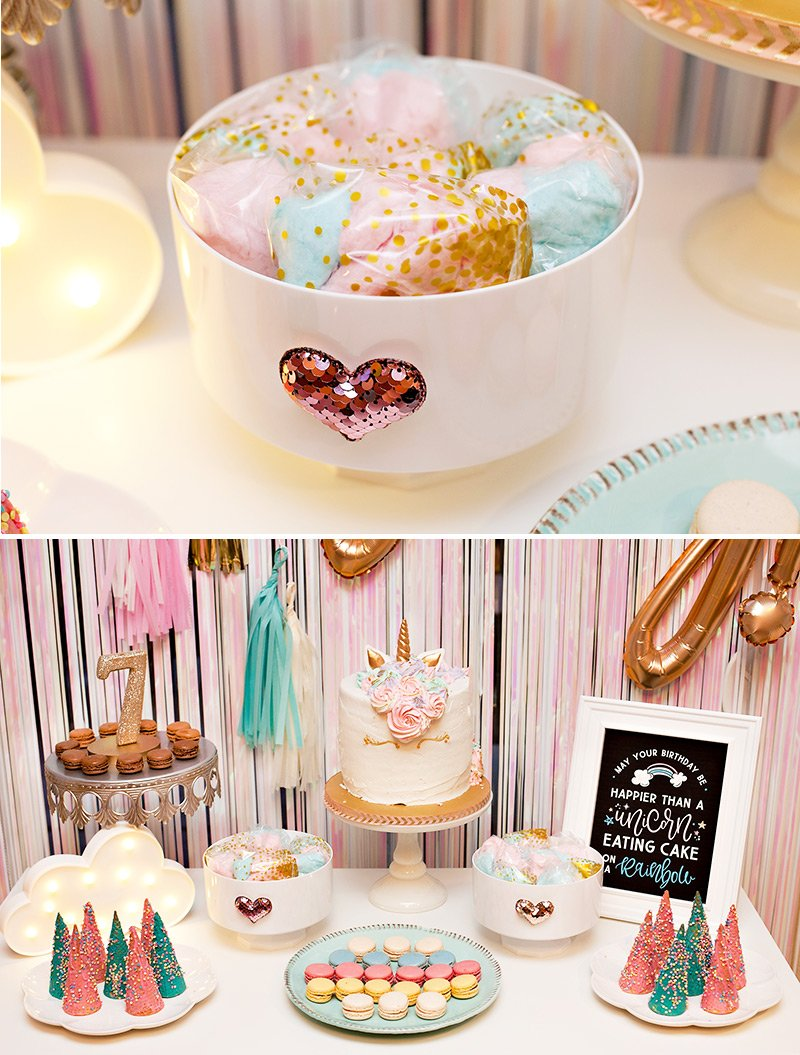 unicorn party treats - cotton candy, cake, cookies