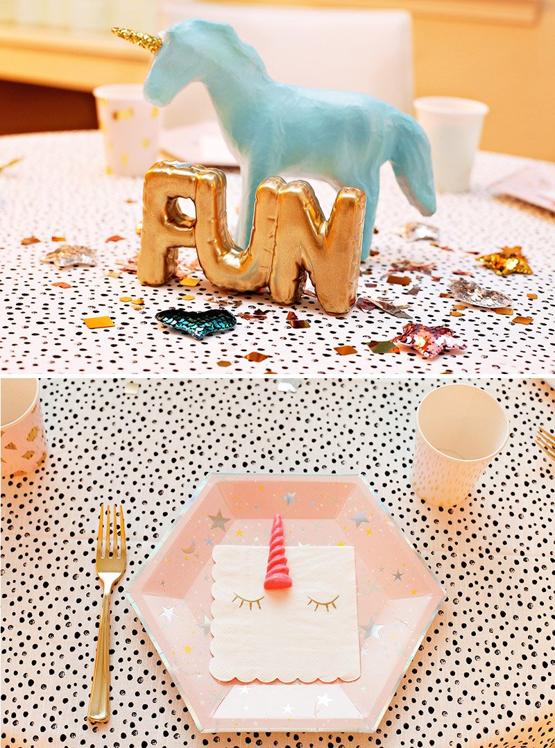 unicorn table centerpiece and place setting