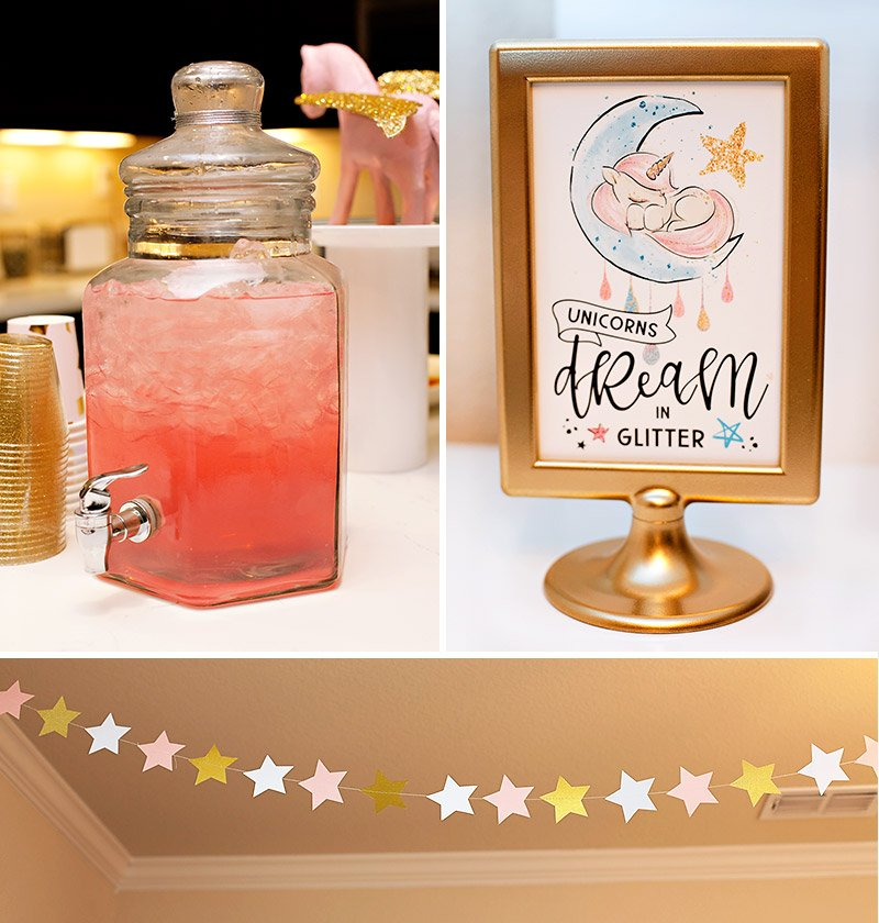 pink unicorn party drink and sign