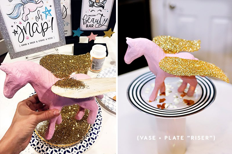 pink and gold pegasus decoration