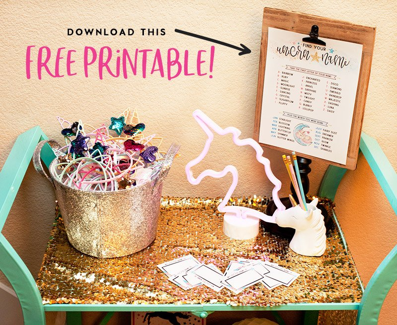 unicorn name sign free printable