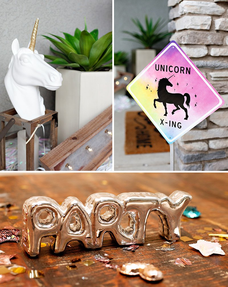 unicorn crossing party sign
