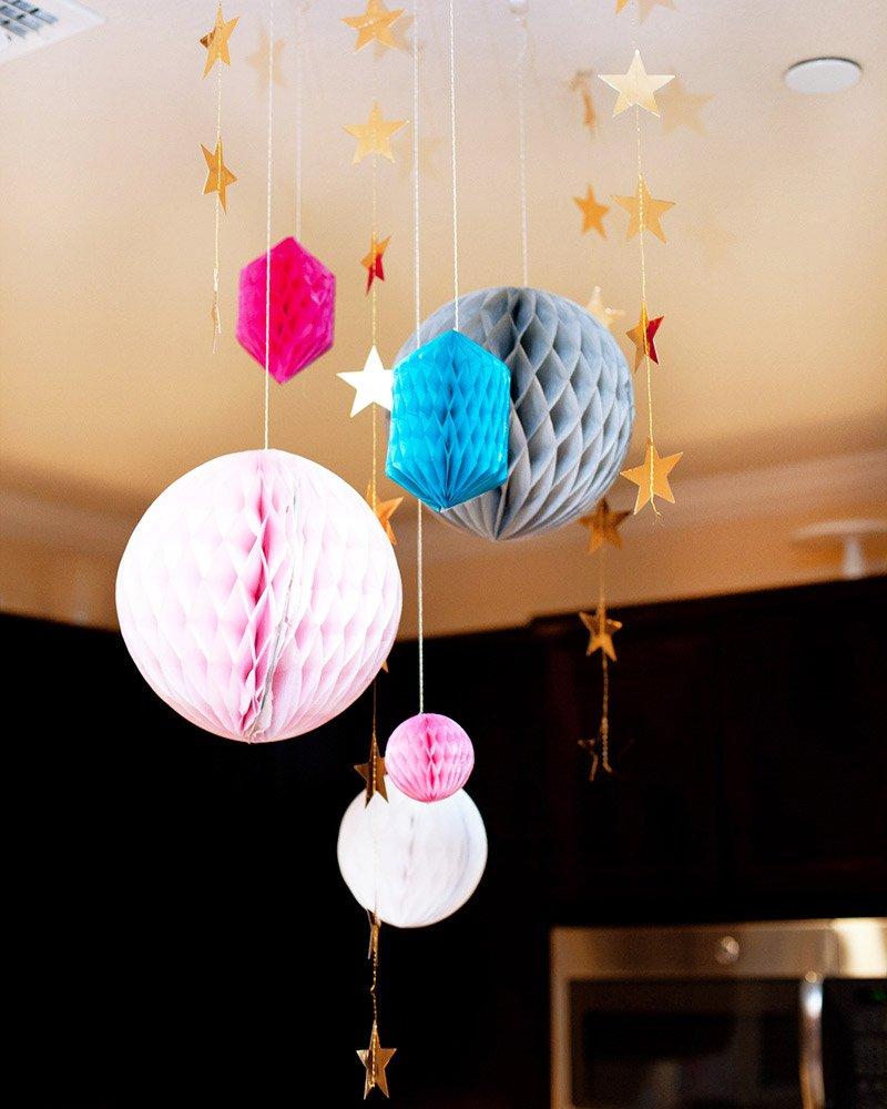pink blue gold party decorations