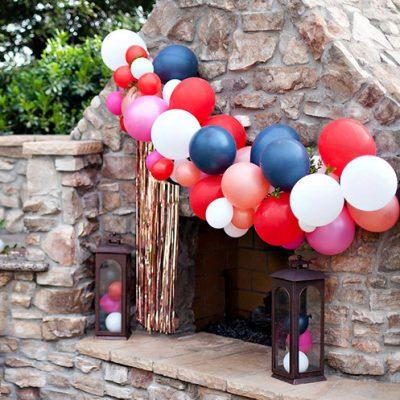 balloon garland garden party