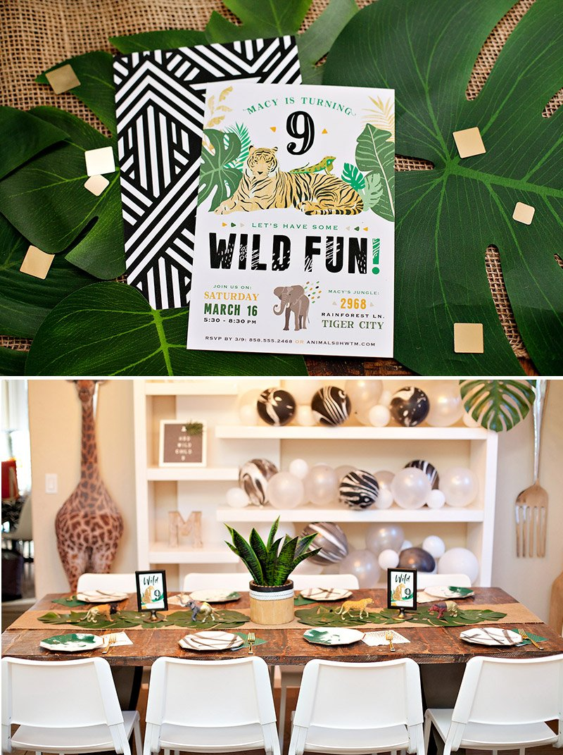 Modern Wild Animal Party Invitation
