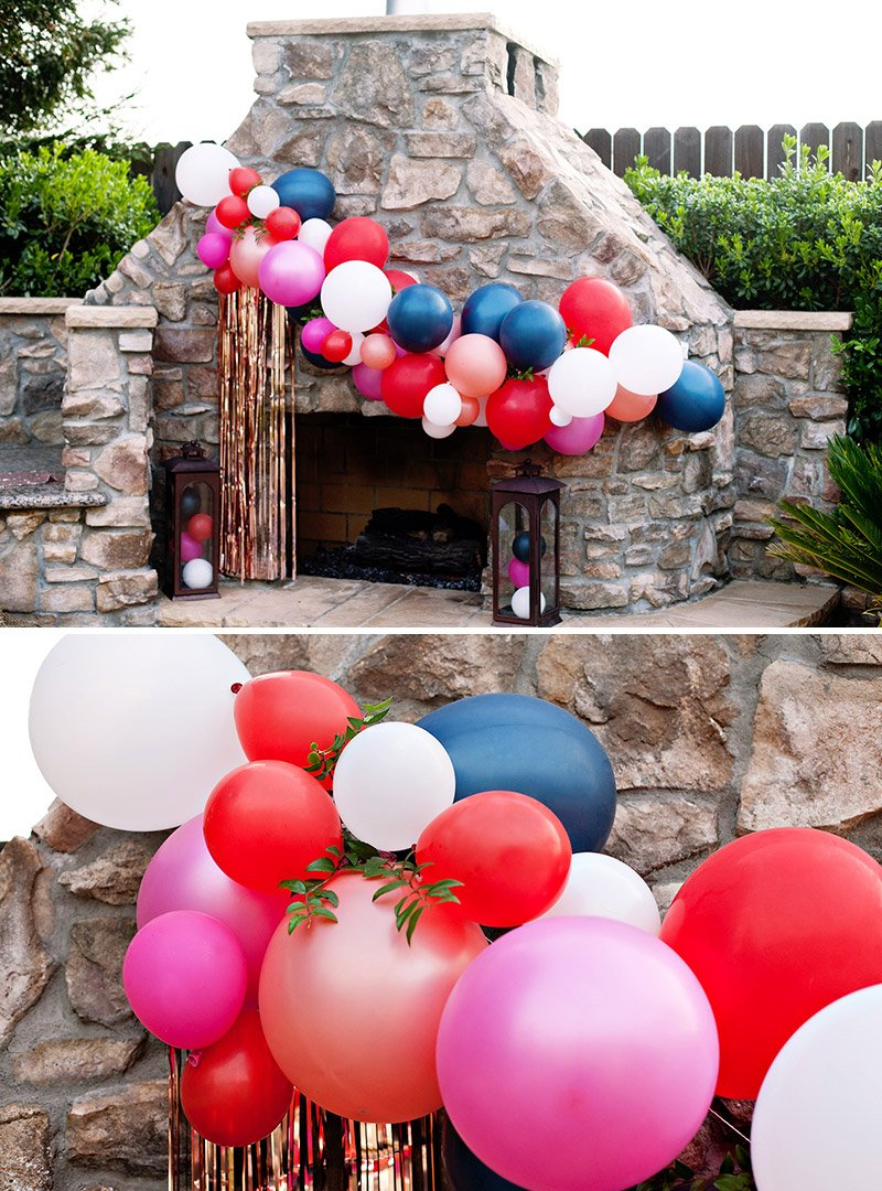 DIY balloon garland with greenery