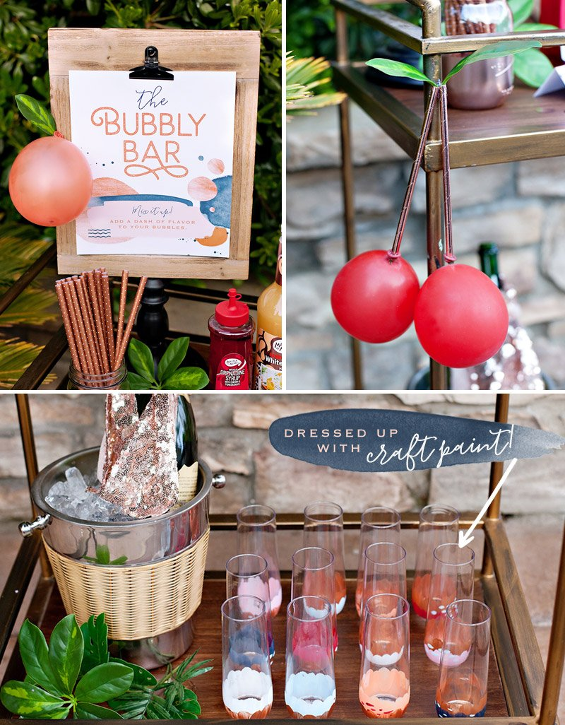 peach and cherry bubbly bar