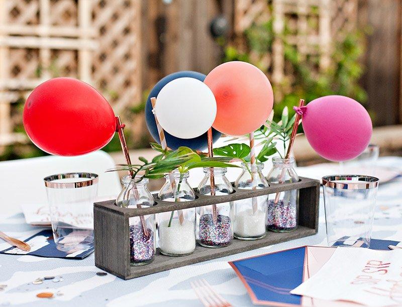 mini balloon centerpiece - modern party