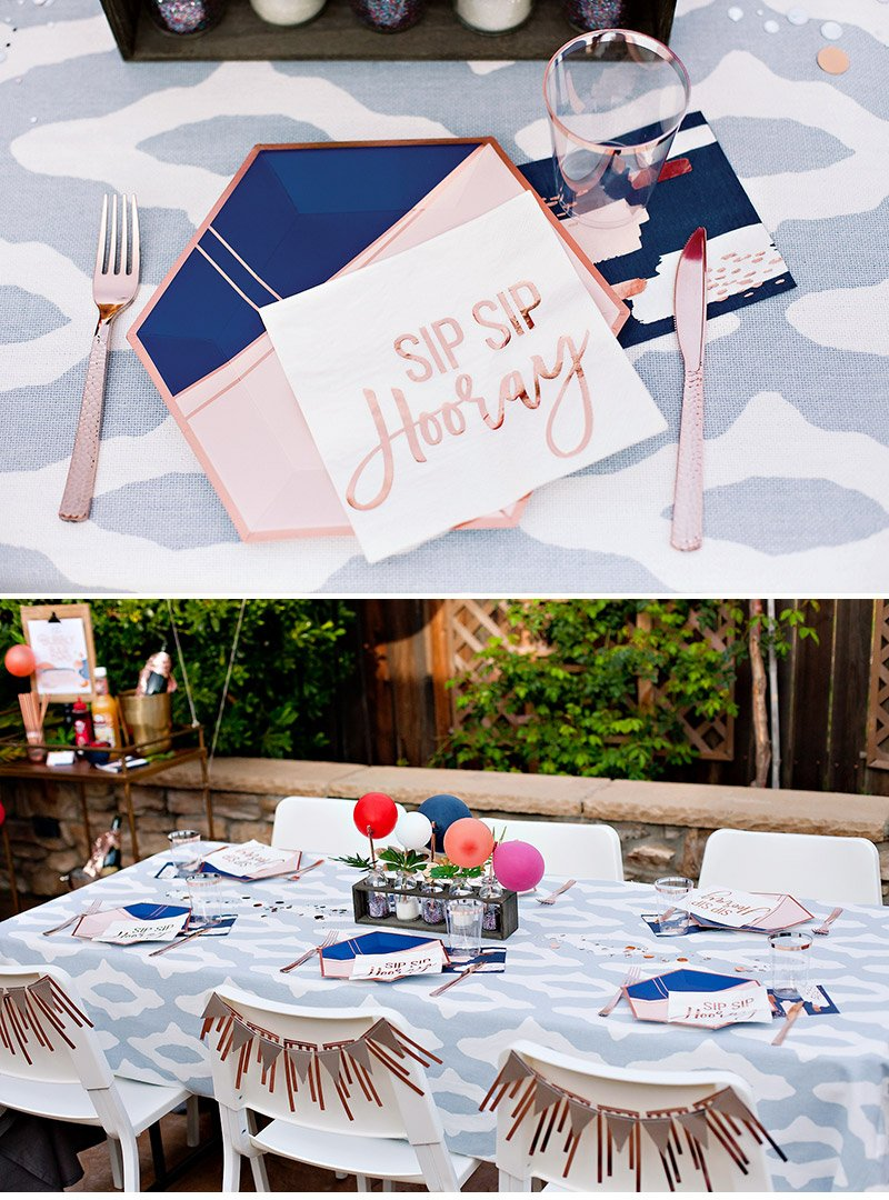geometric garden party table