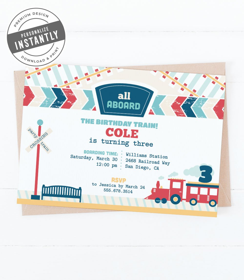 Modern Train Birthday Party Invitation