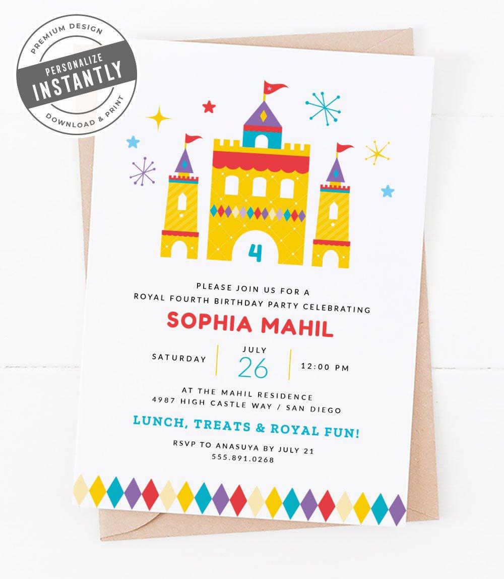 Modern Royal Birthday Party Invitation