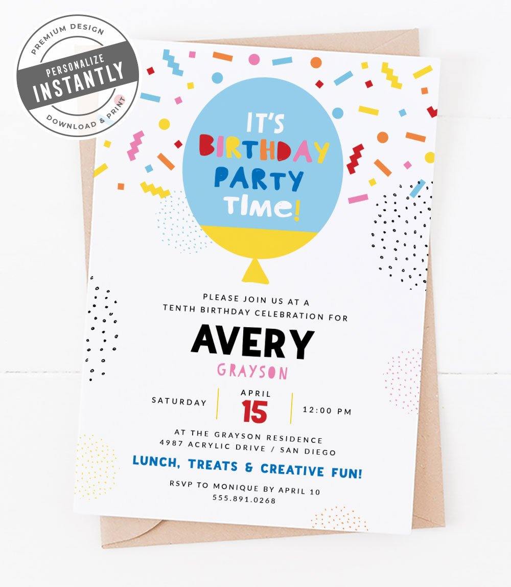 Colorful & Creative Birthday Party Invitation
