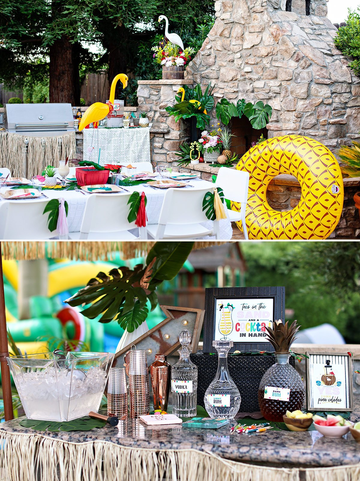 Tropical Party Ideas Table and Bar