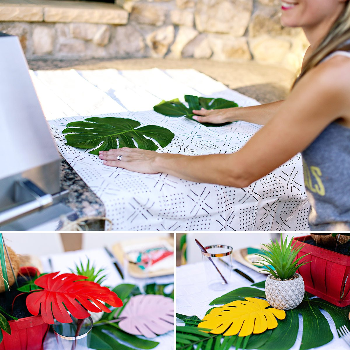 tropical party monster leaf decorations
