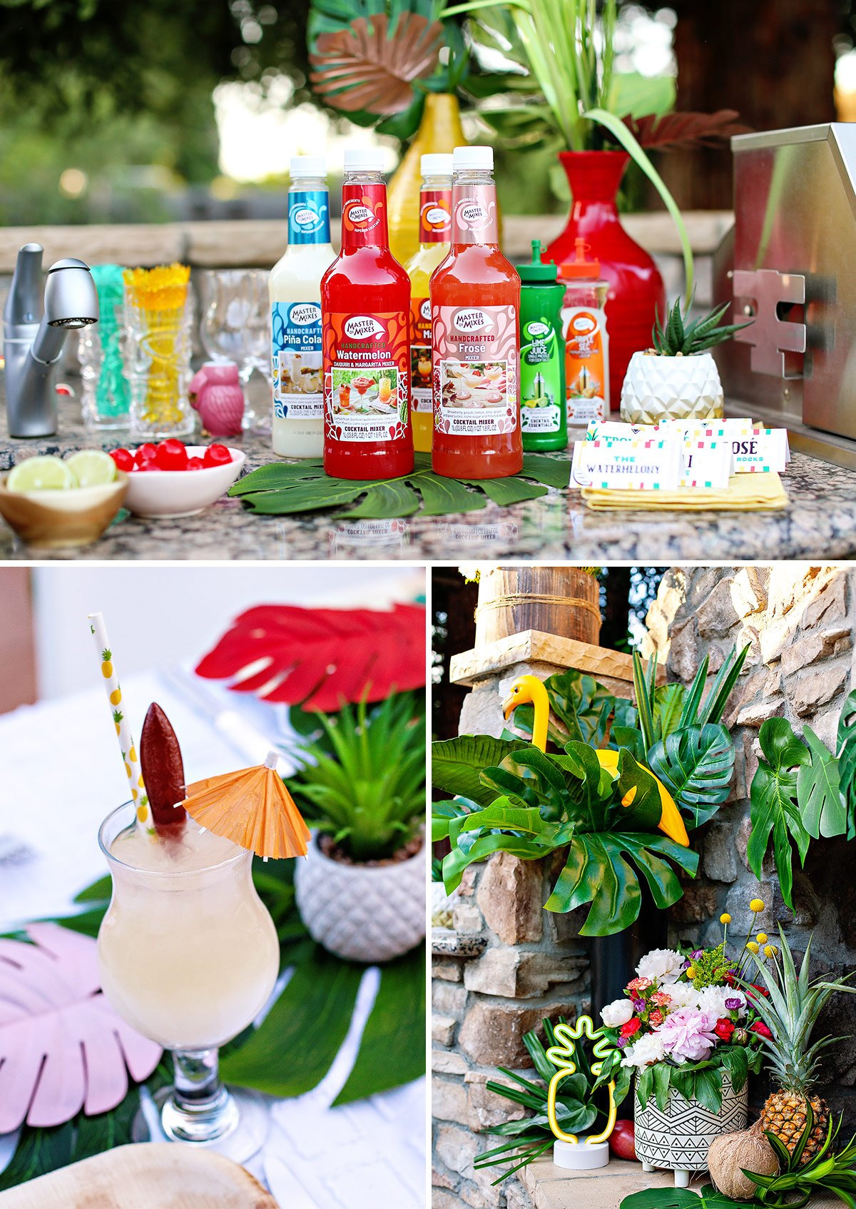tropical party bar and cocktails