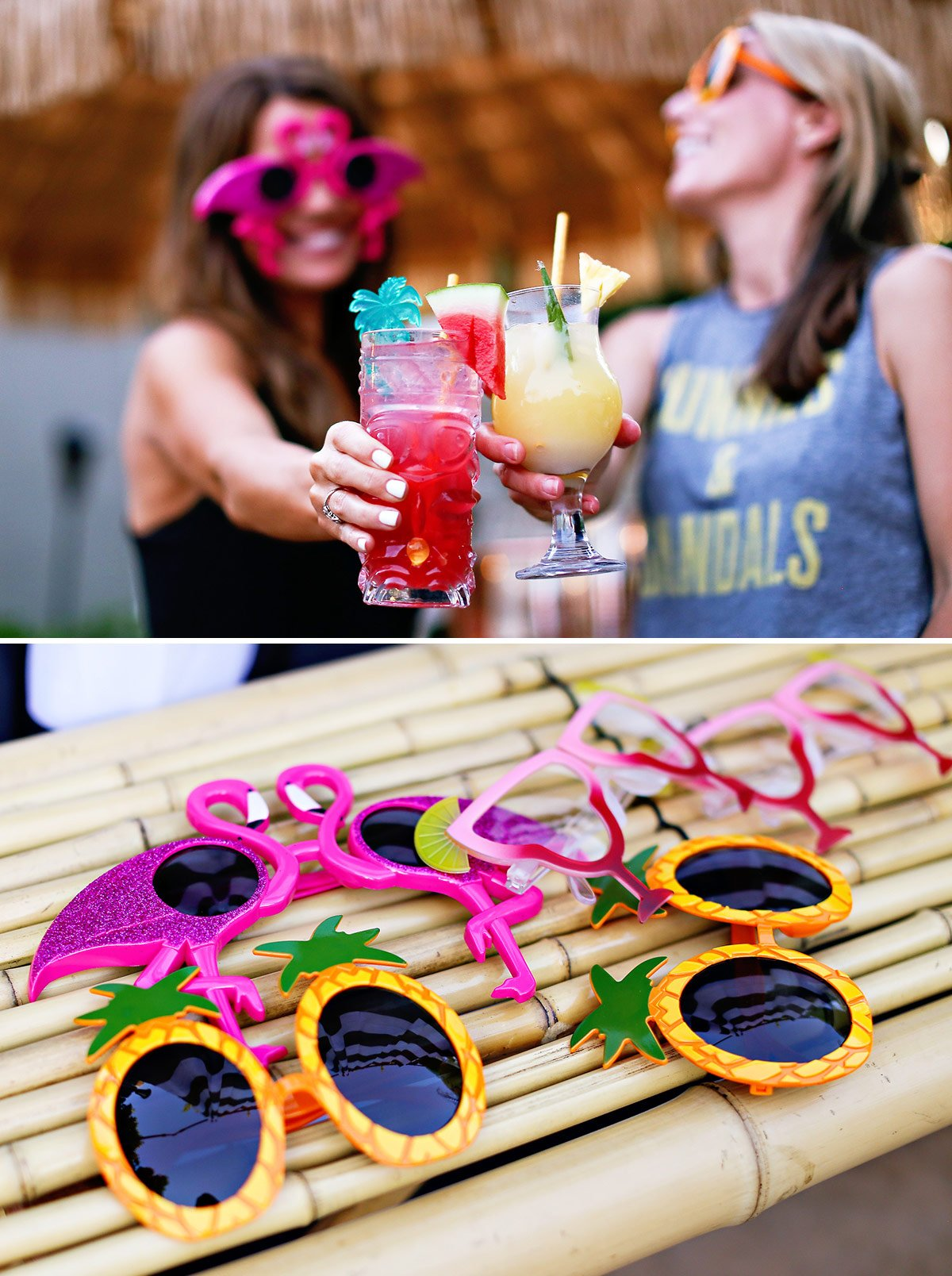 summer party sunglasses pineapples flamingos