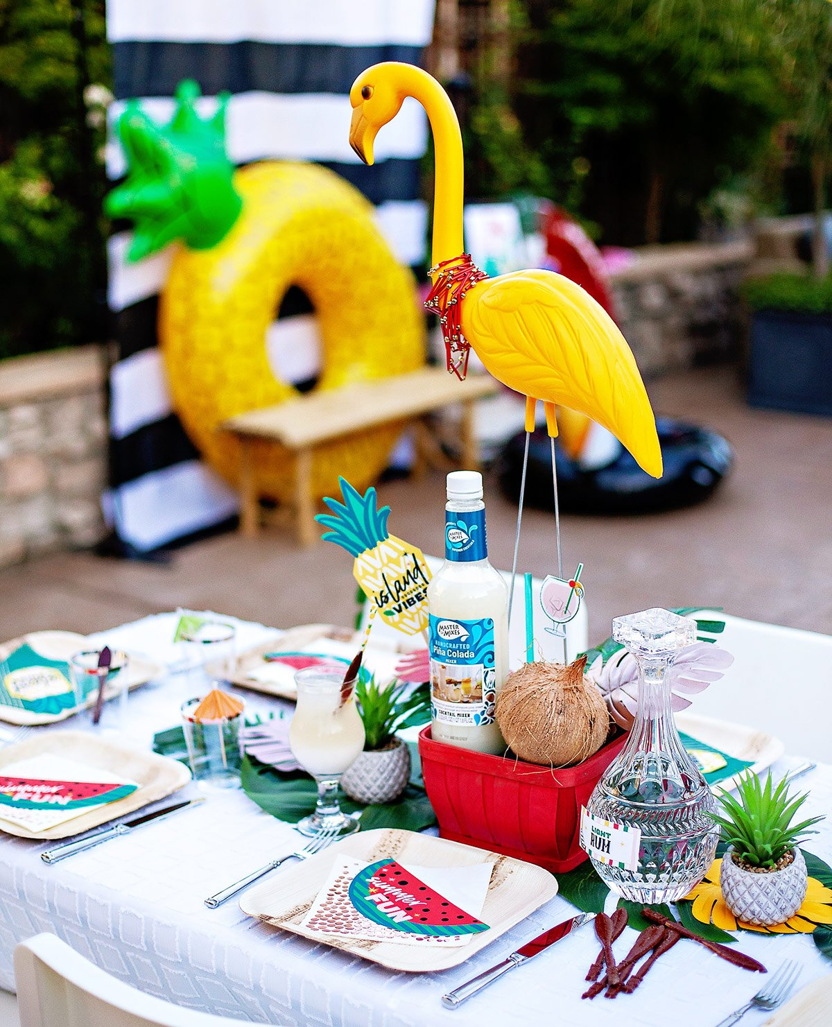 tropical party table ideas and flamingo centerpiece