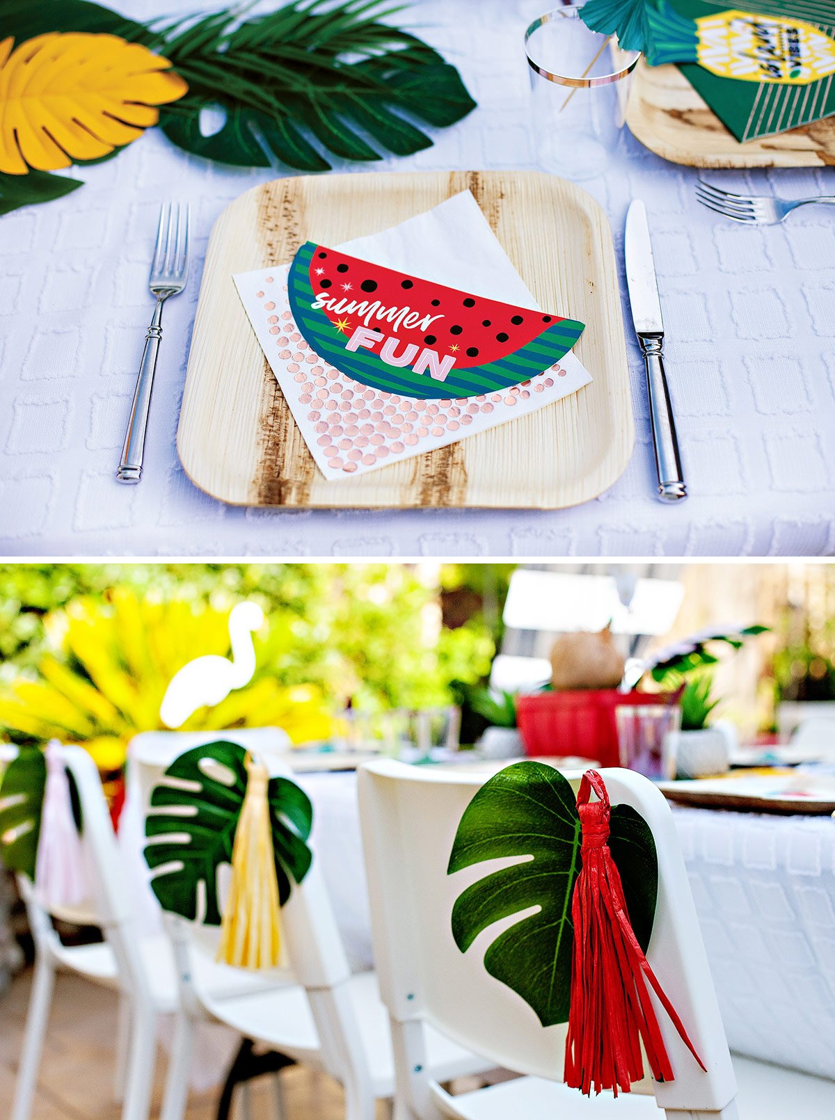 watermelon place settings tropical summer party