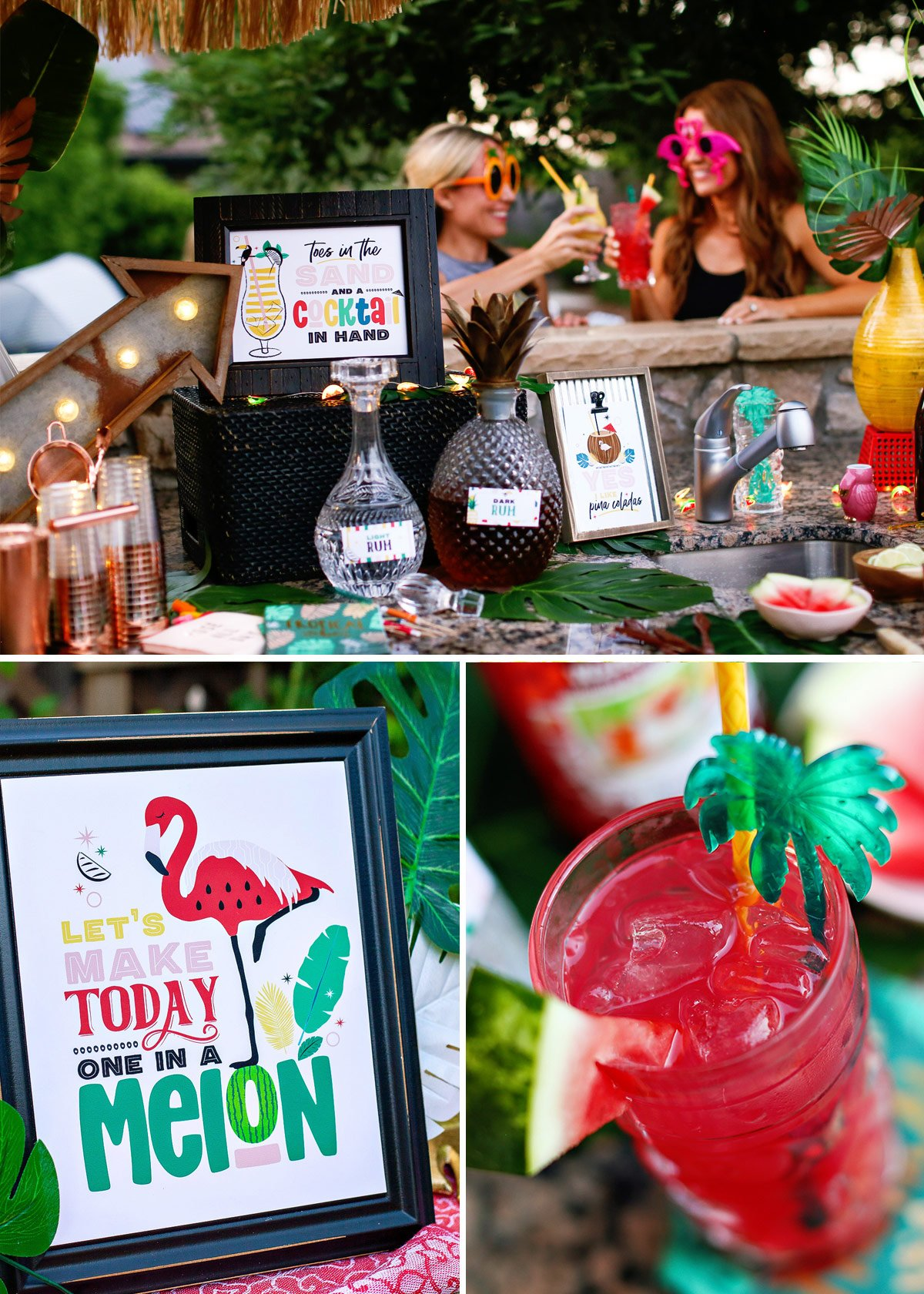 tropical party cocktails and bar