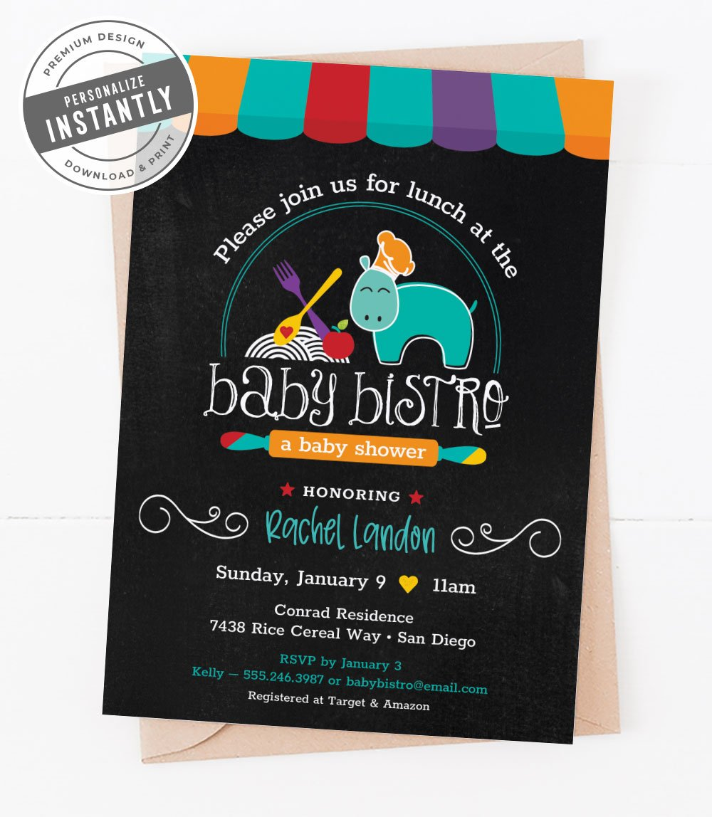 Artsy Chef Baby Shower Invitation