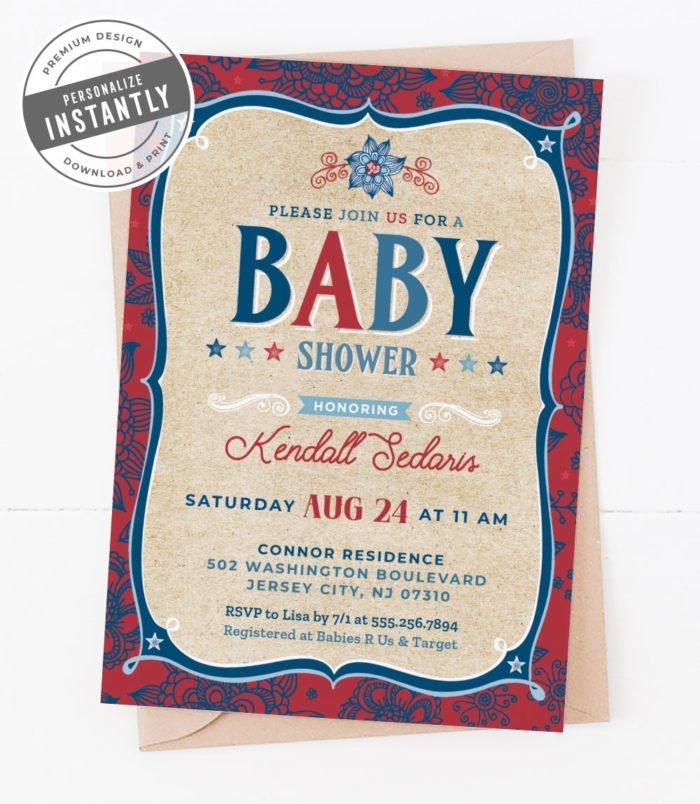 Americana Baby Shower Invitation