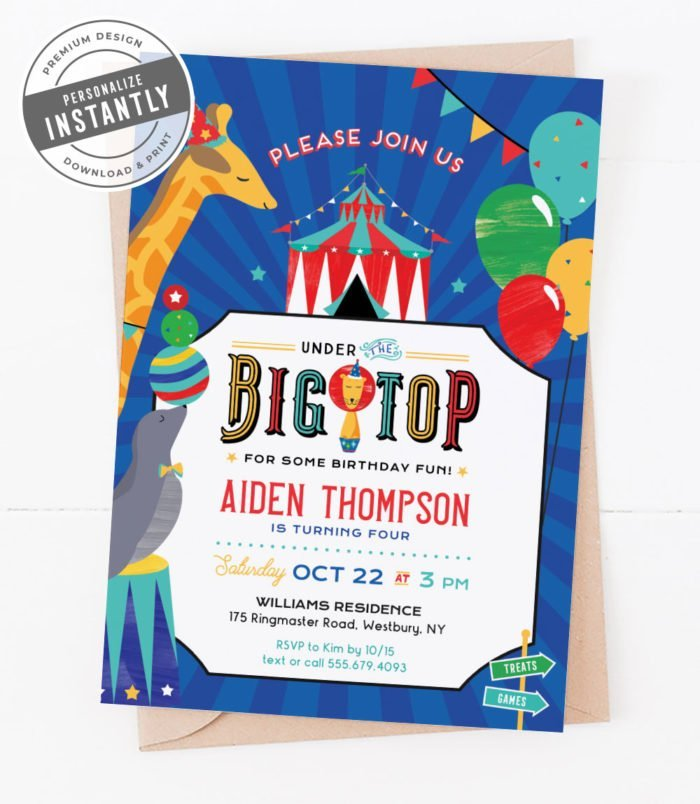 Big Top Birthday Party Invitation