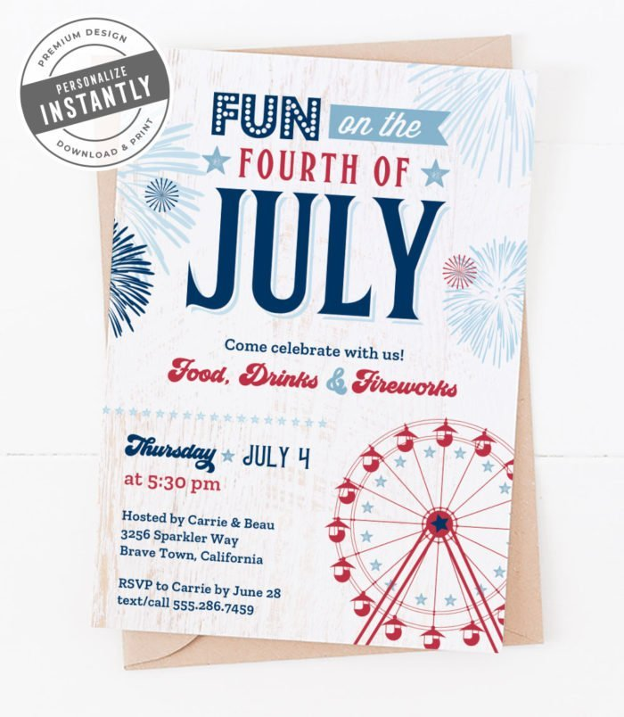 Retro Patriotic Party Invitation
