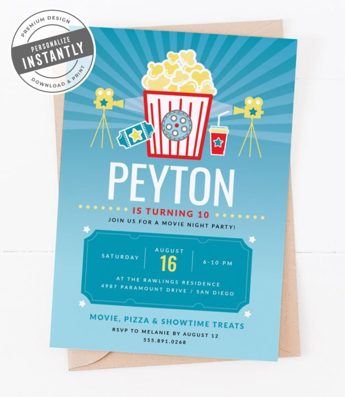 Popcorn & Movies Birthday Party Invitation