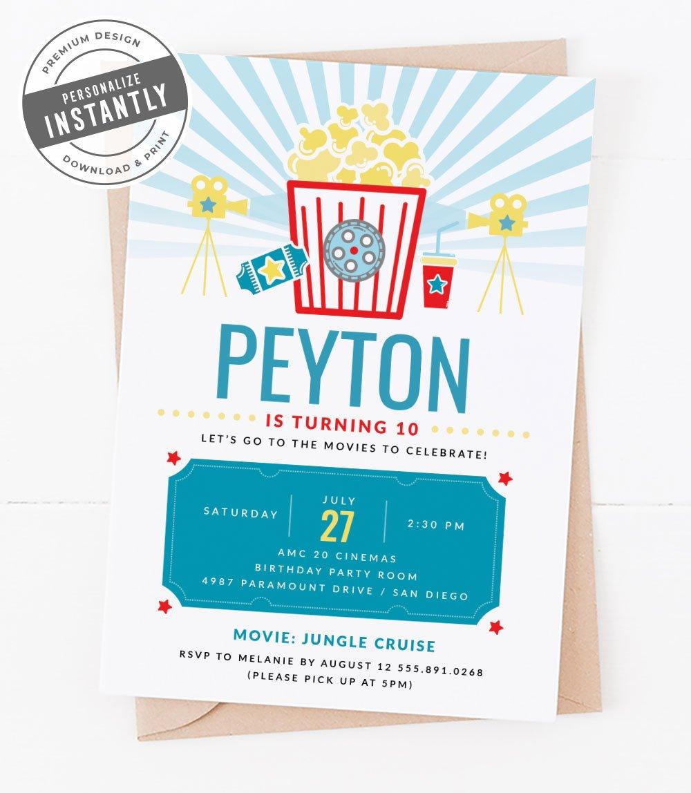 Popcorn & Movies Birthday Party Invitation