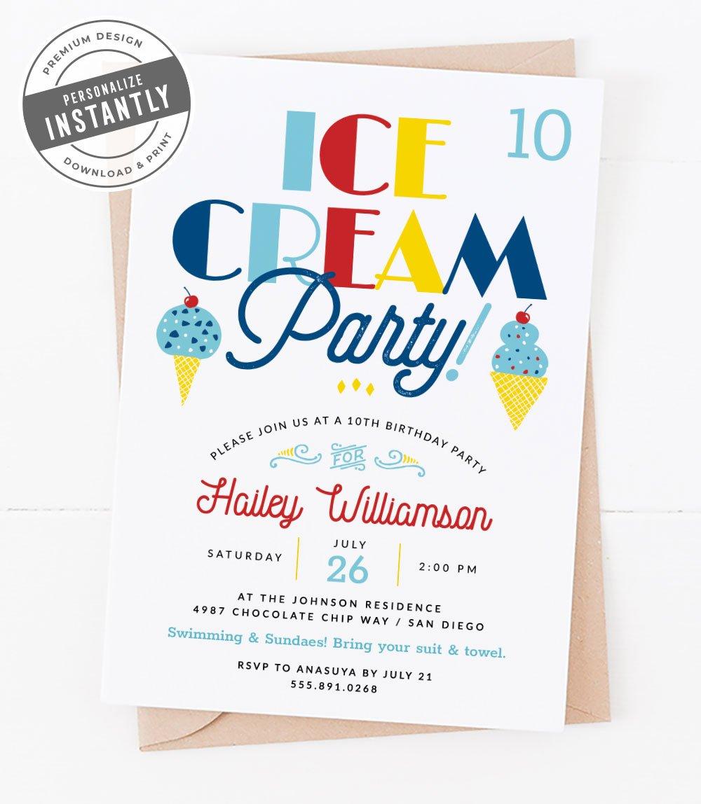 Nautical Ice Cream Station Birthday Party Invitation