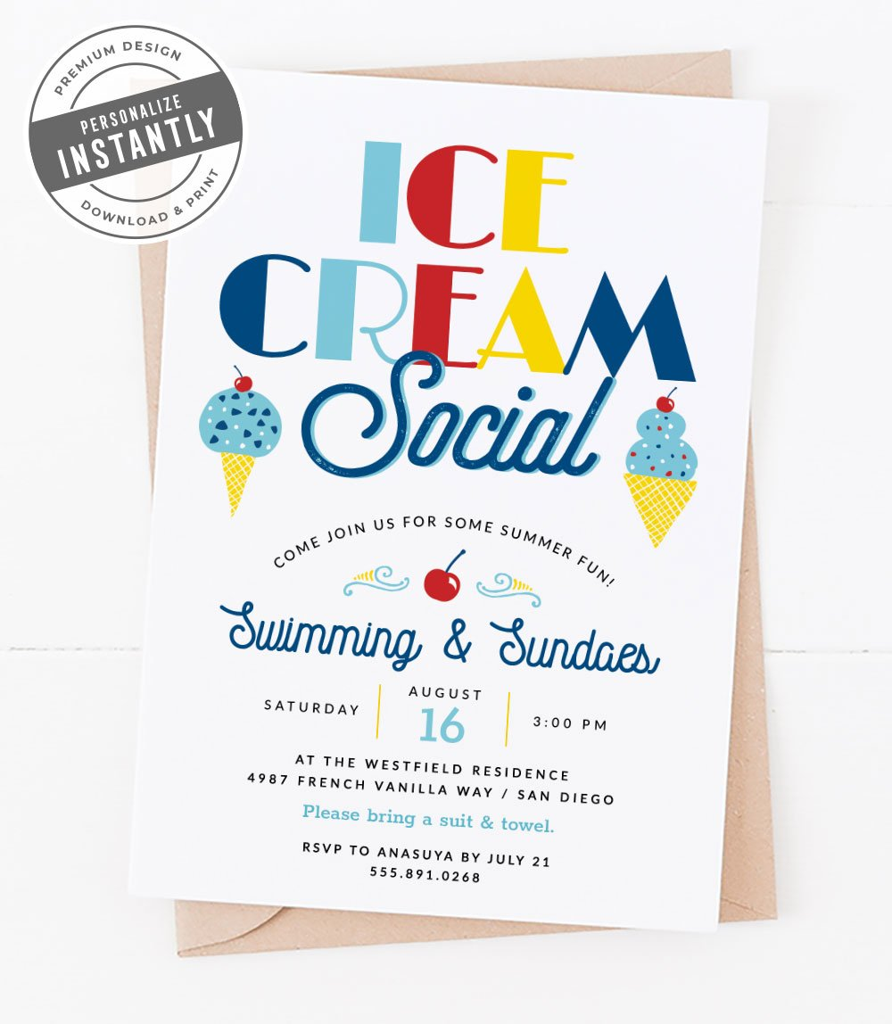 Nautical Ice Cream Station Party Invitation