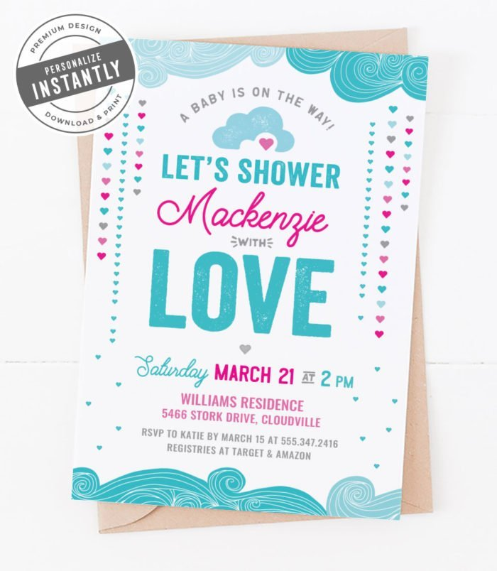Hearts & Umbrellas Baby Shower Invitation