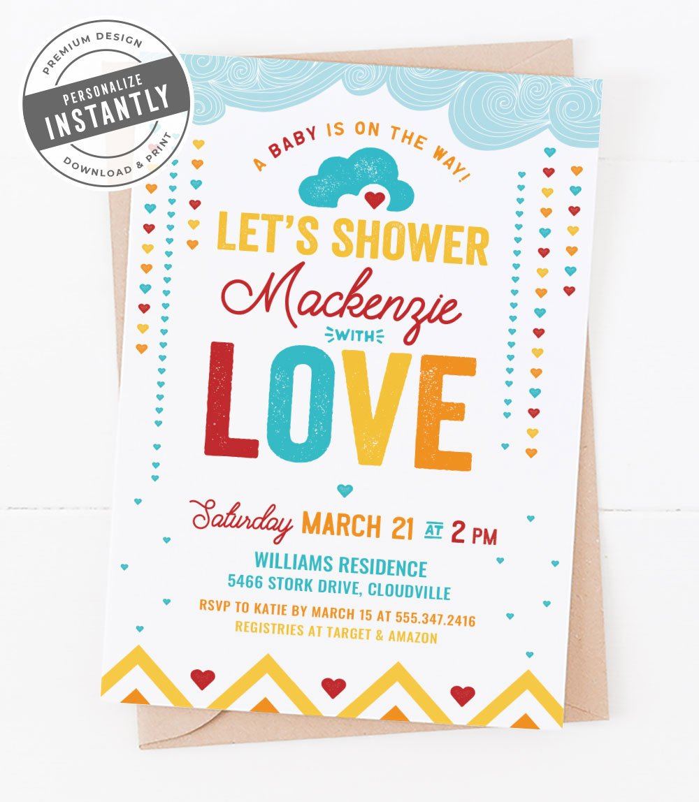 Hearts & Rainbows Baby Shower Invitation
