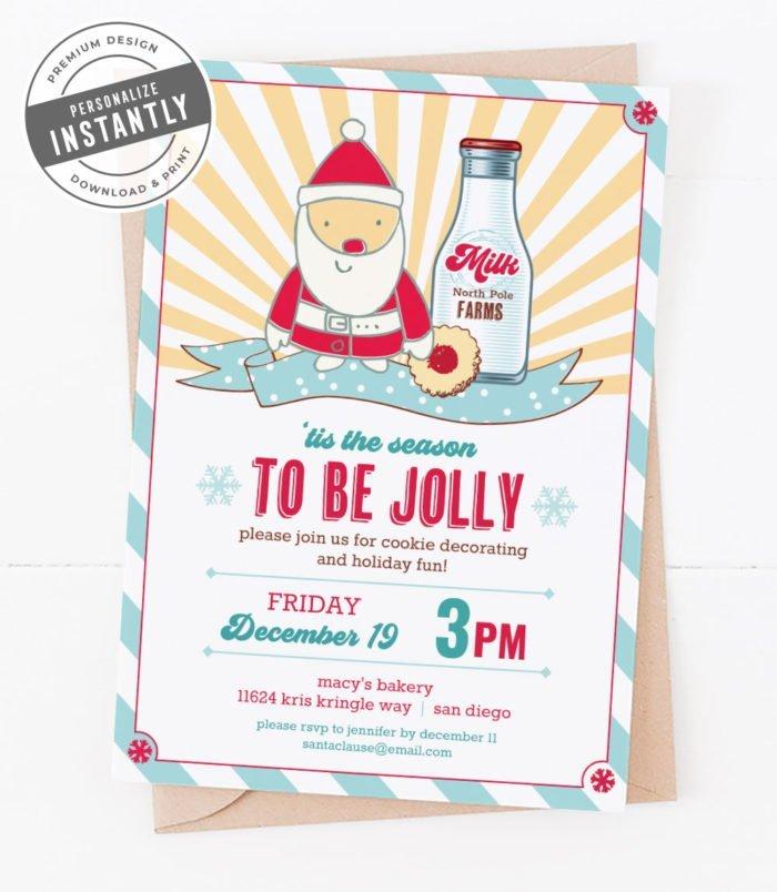 Milk & Cookies Christmas Party Invitation