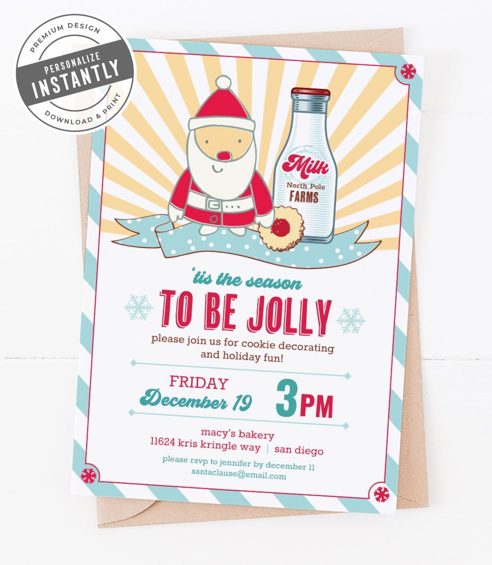 Milk & Cookies Christmas Party Invitation