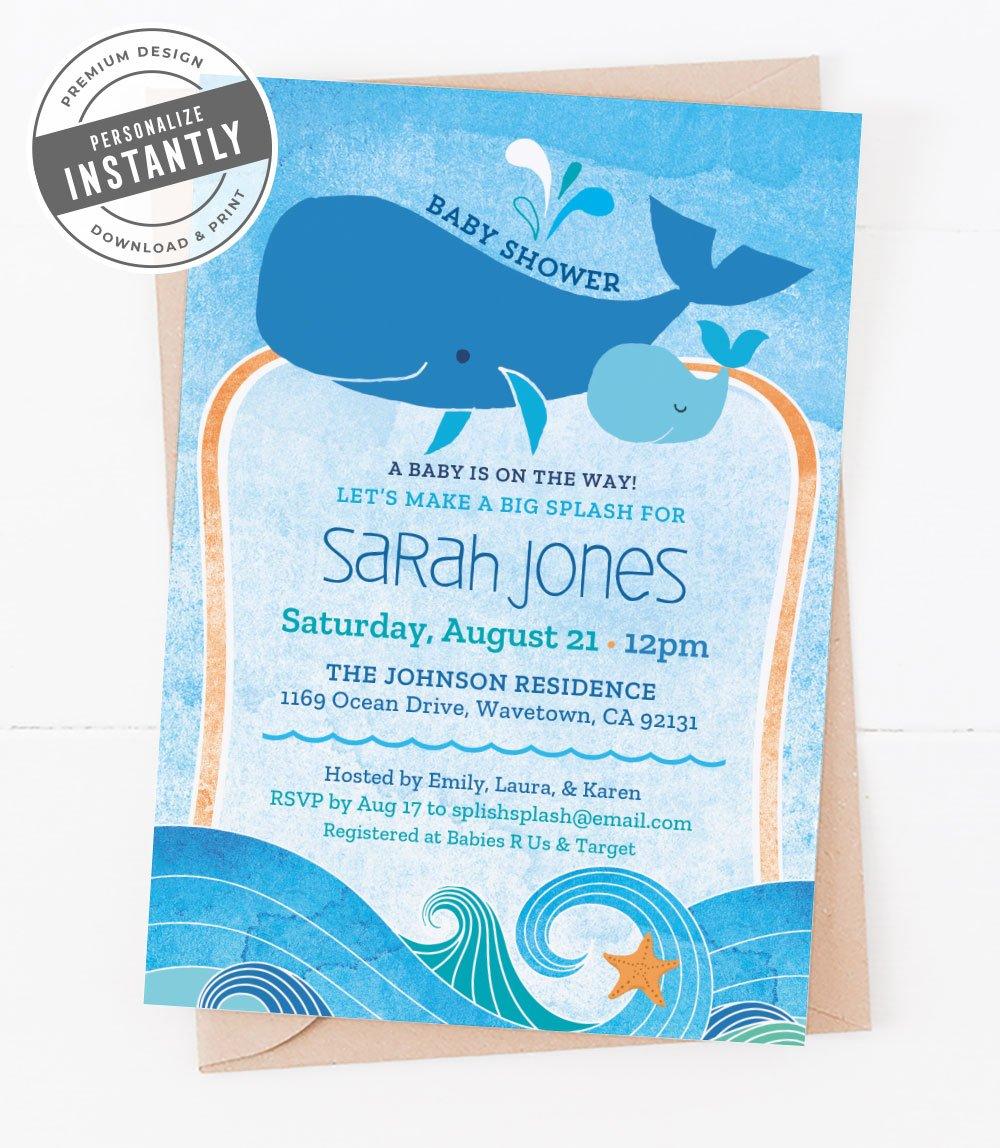Ocean Themed Baby Shower Invitation