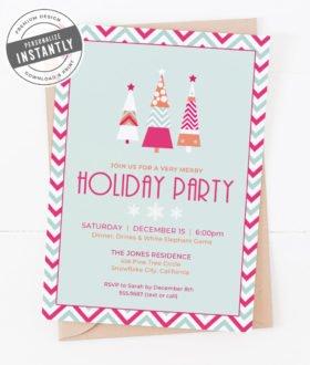 A Retro Modern Holiday Party Invitation