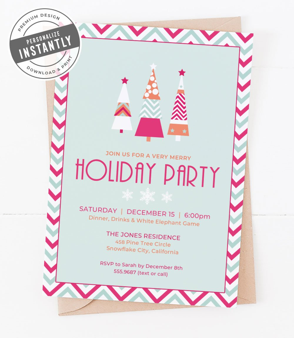 A Retro Modern Holiday Party Invitation