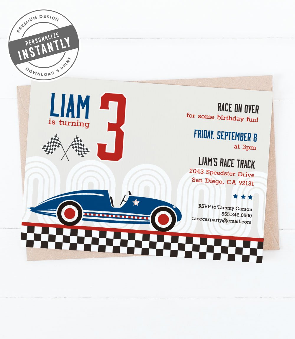 Vintage Race Car Birthday Party Invitation