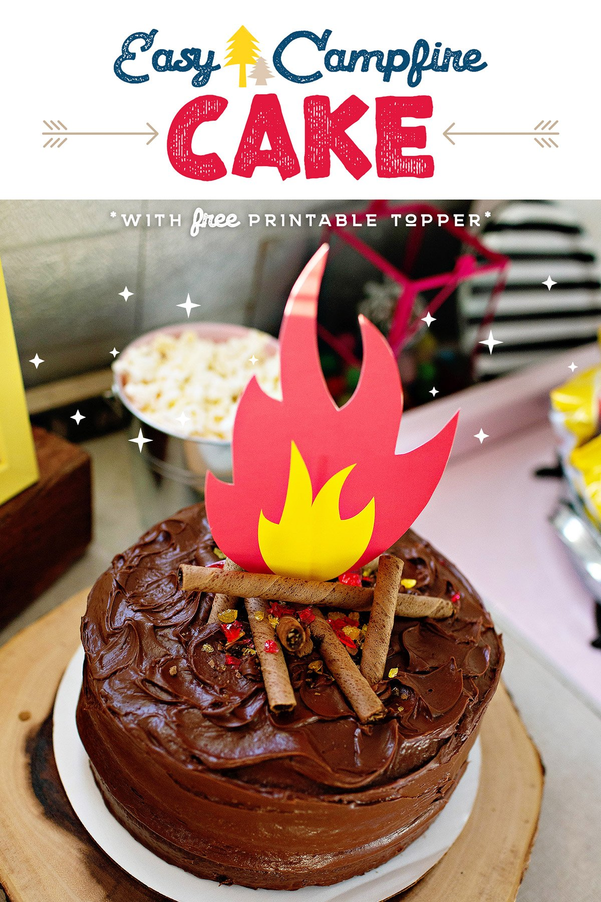 Groovy Easy Campfire Cake Printable Fire Topper Hostess With The Funny Birthday Cards Online Unhofree Goldxyz