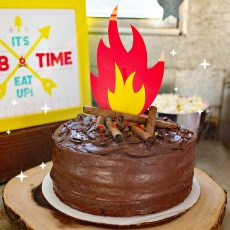 DIY Campfire Cake with Printable Topper